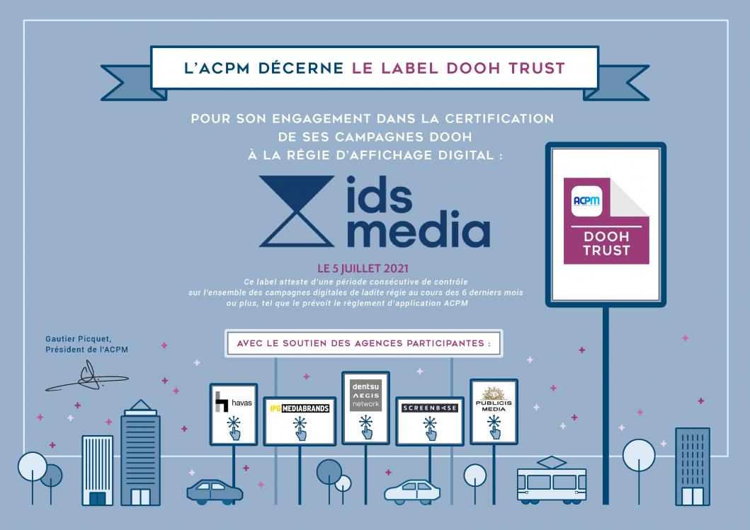IDS media régie santé bien-être labelisée DOOH Trust par l'ACPM