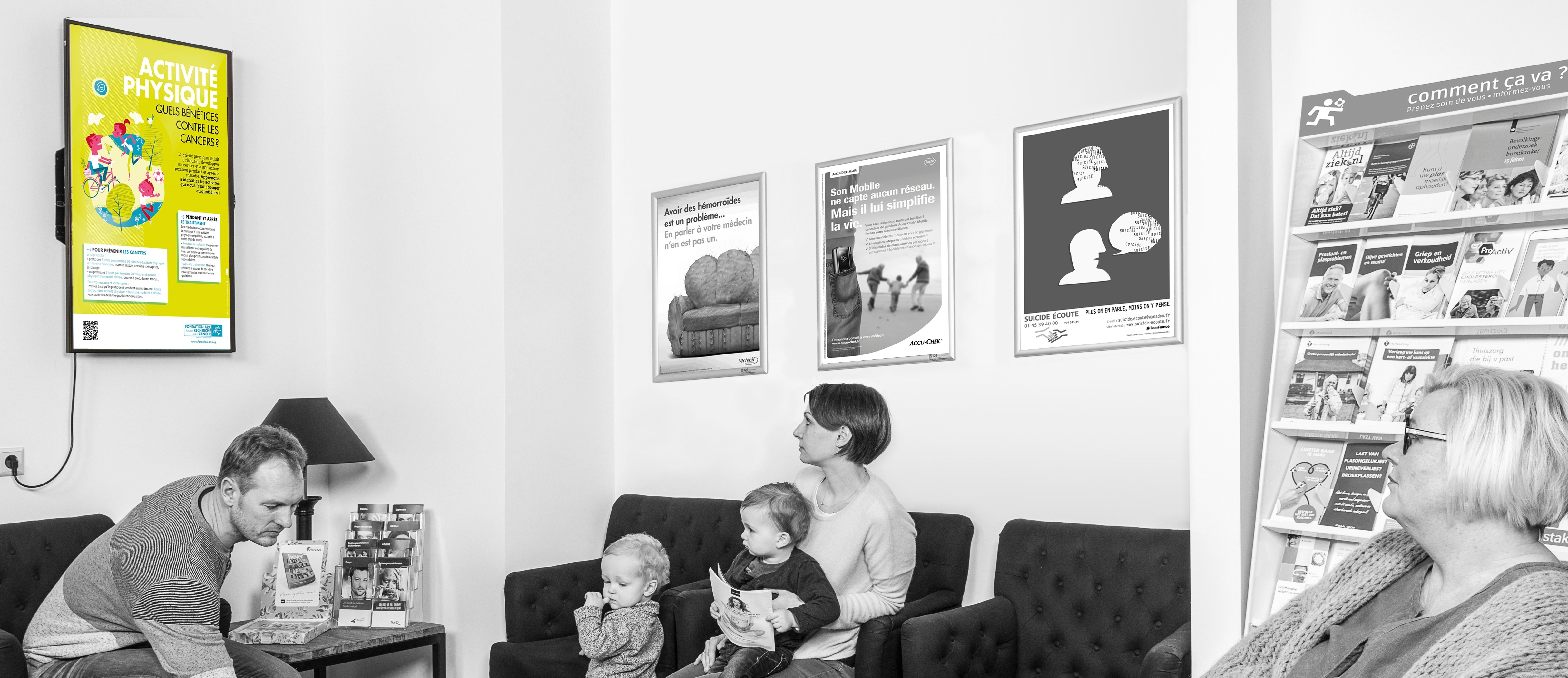Ecran en salle d'attente chez le médecin