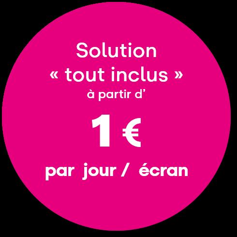 Solution d'écran d'information clé en main pour 1€ par jour